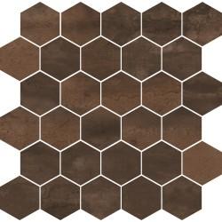 Mosaico Hexagono Acero cooper