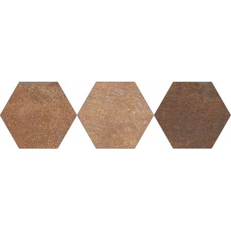 Oset de Fer Brun porcelaine Hexagonale de 20 x 24
